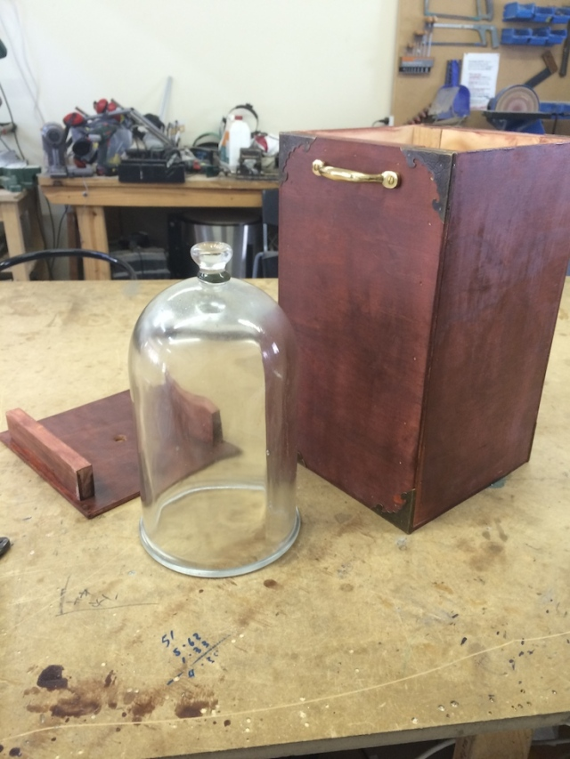 Finished stained brass bell jar box and travelling case