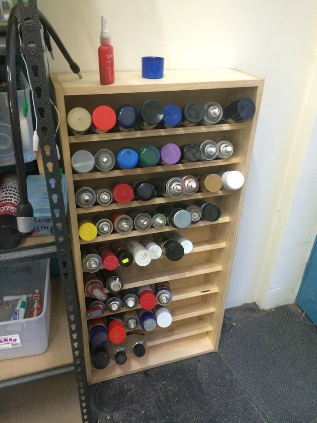 Finished spray paint storage rack